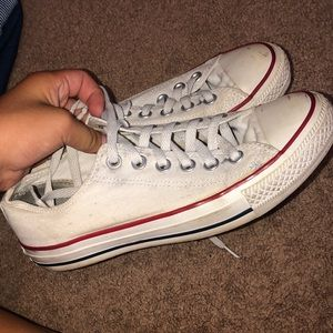 All white low top converse